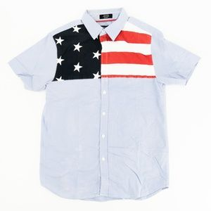 Eighty Eight Button Front Shirt American Flag Sz M